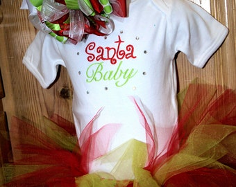Santa Baby Tutu Set and matching OTT bow