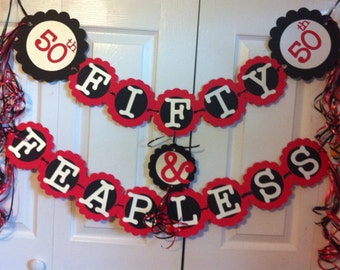 50th Birthday Decorations Party Banner  Fifty & Fearless