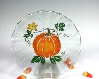 Pumpkin Bowl, Fused Glass Dish, Fall Dish, Candy Dish, Thanksgiving
