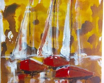 Table, white sails, red shells, ochre sky