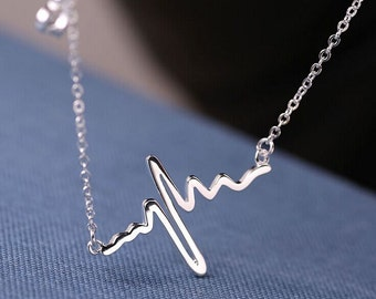 Sterling silver Necklace Electrocardiogram (ecg) shape