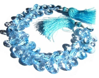 1/2 Strand -- AAA Sky Blue Topaz Faceted Pear Briolettes 10x8 - 11x8mm Approx (Get 30% Discount)