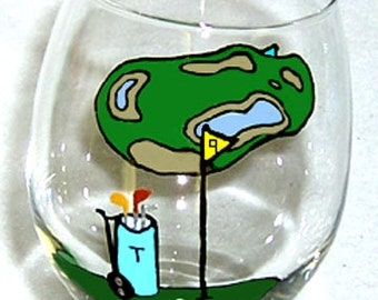 Golfing Wine Glass Hand Painted Personalized