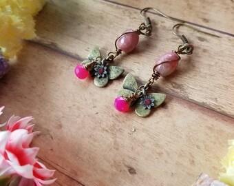 Ooak butterfly chalcedony and rhodnite earrings