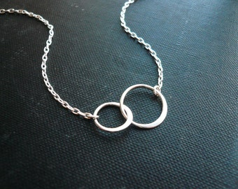 Small Entwined Rings Necklace in Sterling Silver - Sweet Wedding or Mothers Day Gift
