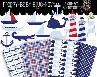 Preppy Paper Preppy Clip Art Preppy Digital Paper Printable Background Preppy Whale Alligator Navy Blue Baby Blue - Instant Download