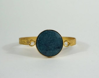 Wide bracelet turquoise and gold-plated brass