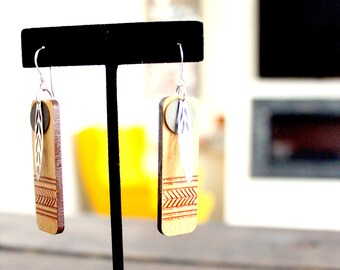 Handmade Upcycled Etched Wood Earrings- Feather