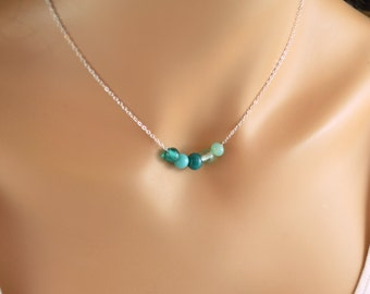 Blue Beaded Necklace, Silver Plated Chain, Mint Aqua Teal, Shaded, Glass Beads, Affordable Gift, Jewelry for Women