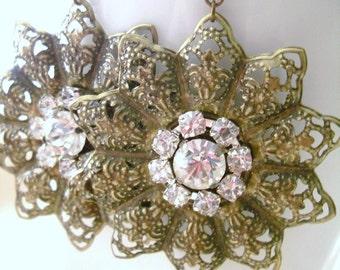Antiqued Bronze Filigree Flower Earrings with Rhinestones, Rustic Vintage style Wedding, Bridal earrings, Bridesmaid earrings gift
