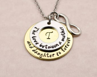 Personalized Gift for Mother - Custom Engraved Mother Daughter Necklace - Pendant Necklace - Birthday Gift for Mom - Mother's Day Gift
