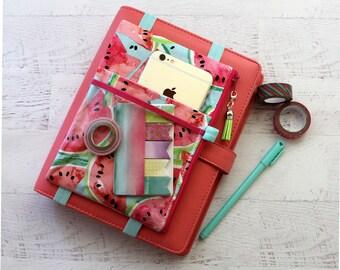BUJO accessory - watermelon planner bag - vegan planner pouch - planner pen holder - washi tape holder - planner sticker organizer - pouch
