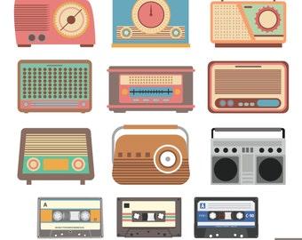 Retro Radio Digital Clipart