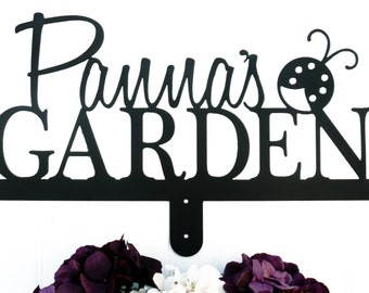 Personalized Sign   Metal Sign   Gift For Her   Name Sign   Custom   Gift   Garden Name Sign   Garden Decor   Metal   Ladybug