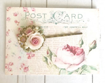 sweet antique brass bobby pin with Swarovski crystals and pink porcelain roses #1062-16