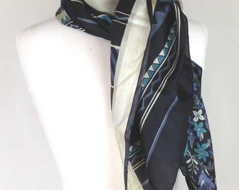 Flower Print Scarf; Blue Silk Scarf; Blue Scarf; Upcycled Silk Scarf