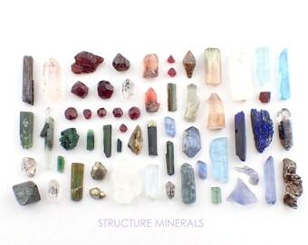 10% OFF - Winter inspired Crystal Collection: Garnet, Quartz, Tourmaline, Tanzanite, Topaz, Rutile, Aquamarine, Epidote, Iolite, Azurite