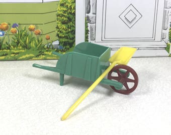 "MINIATURE WHEELBARROW and SHOVEL, Commonwealth Hard Plastic, Moving Wheel, 1950's, 3/4"" Scale or Smaller, Vintage Dollhouse, Garden Decor"