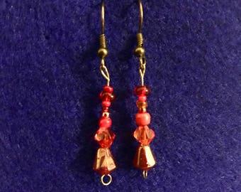 Red Teardrop Dangly Earrings