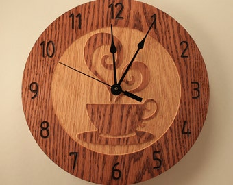 Oak Coffee cup clock Teacup clock Wood clock Wall clock Wooden wall clock Home clock Decorative clock Kitchen decor Hot beverages Cooking