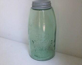 Green Atlas Mason 1858 Half Gallon Jar & Zinc Lid /