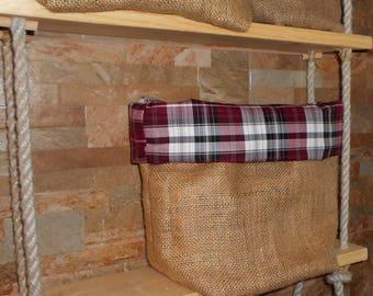 Lined Burlap storage bag, Checkered, burgundy color, Rustic, storage basket
