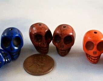 SKULLS Multi Colored Stone Beads Howlite Craft Jewelry Supply (6 Pieces)