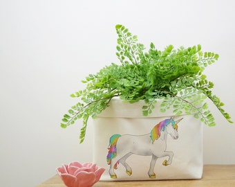 Unicorn Canvas Storage Box, Storage Solution, Storage Basket, Fabric Basket, Organiser, Storage Bin, Nursery Storage, Unicorn Gift