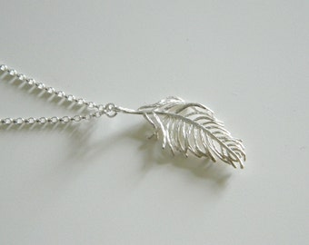 Feather Necklace, Sterling Silver