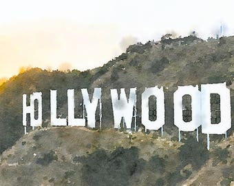 Watercolor of the Hollywood Sign at Sunset - Matted Art Prints & Note Cards - Digitally-Produced, Beautiful, Realistic Quality