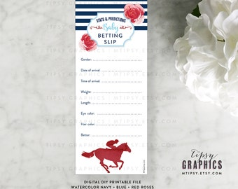Derby Baby Betting Slip. Stats & Predictions. Kentucky Derby Race Day Roses Horses. Printable DiY Cards, any Colors. By Tipsy Graphics