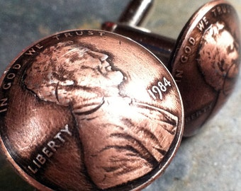 Father's Day Hand Crafted Penny Cuff Links made from U.S. Pennies. Father's Day Gift Gift for Men
