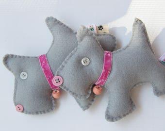 Gray and Pink Christmas Ornament Pincushion Charm Doggie  Scotty Felt Charm