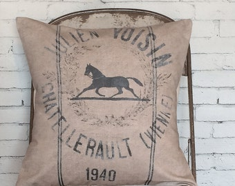 Pillow Cover Horse Pillow Cover Equestrian Pillow Decorative Pillow Farmhouse Pillow Cover Horse Equestrian Gift