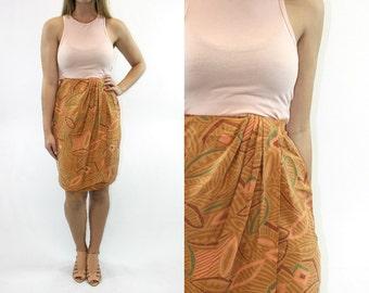 Vintage 70's Jacqueline Ferrar Silk Skirt // Wrap Skirt Designer Geometrical Geometric Boho Bohemian