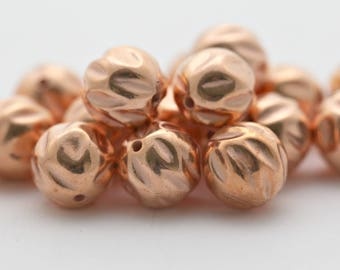 Vintage Copper Coated Fluted Round Lucite Nugget Beads 12mm (16)
