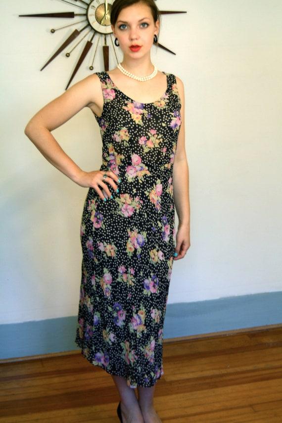 90s Floral Dress, Silk crepe dress, silk flutter dress, bias cut dress,Black & White,Polka Dots flowers,Sleeveless dress, 1990s floral dress