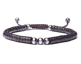 Men's Beaded Bracelet - Sterling Silver beads - Brass Beads - Snake Beads bracelet for Men - Adjustable men's Bead bracelet - Men Jewelry