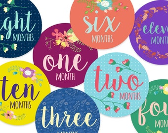 Baby monthly stickers floral, Baby shower gift, 12 months, first year, monthly sticker, baby stickers, baby milestone stickers