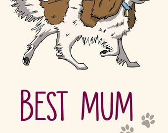 Spaniel Mother's Day Card -  Best Mum Ever! -greetings card