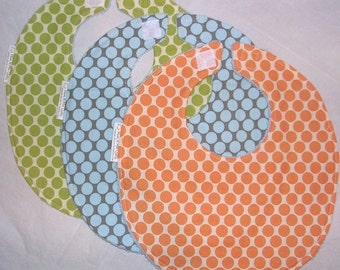 Bib Trio - Boutique Bib Set - Amy Butler Full Moon Polka Dot in Slate, Lime and Tangerine