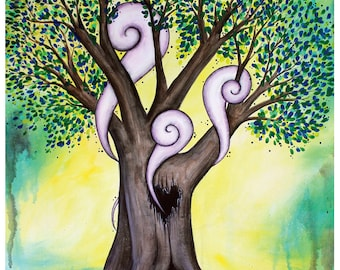 The One I Love - 11x14 Art Print - Hollow Tree with Heart and Swirly Clouds - Art by Marcia Furman
