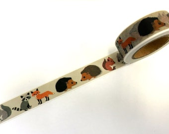 Woodland Animals Paper Washi Tape Scrapbooking Decoration Sticker - Fox -Hedgehog - Squirrel - Raccoon