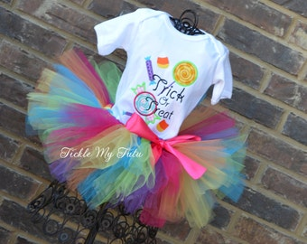 Trick Or Treat Candy Shoppe Tutu Outfit-Halloween Tutu Outfit-Halloween Birthday Outfit-Halloween Pageant Outfit-Halloween Tutu Set