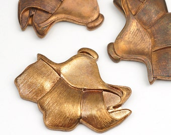 3 pcs brass flower stampings, vintage thick Art Nouveau style morning glory lily