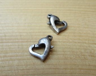 Rhodium plated 12 mm heart clasp