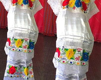 Mexican Dress Mexican Oaxacan Embroidered Wedding Lace Dress Vintage 70s Mexican Festival Dress