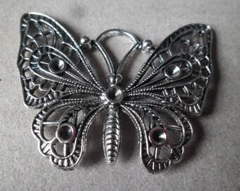 x 1 shape silver metal Butterfly pendant antique 48 x 36 mm