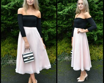 Summer skirt / wedding guest dress / chiffon midi skirt / tea dress / mother of the bride / midi dress / tea length wedding / 'Maribel'