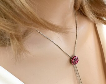 Silver October Birthstone Necklace, Swarovski Crystal, Long Pink Necklace, October Birthday Necklace Gift, Adjustable